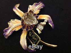 Vintage 1940 Corocraft Coro Craft Sterling Enamel Orchid Rhinestones Brooch Mint