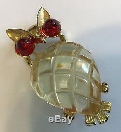Vintage 1940's Coro Jelly Belly Figural Owl Brooch