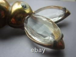 Vintage 1940's H. POMERANTZ BUNNY RABBIT BROOCH Pin Glass Ears Rhinestone Easter