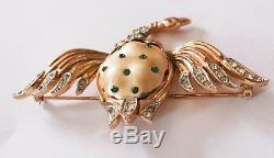 Vintage 1940's TRIFARI Ming Duck Brooch, Earrings Set, Pearl Belly, Rhinestone