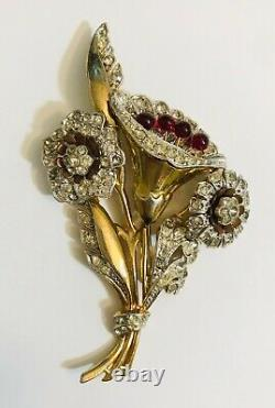 Vintage 1940s Large 4 Articulated Spinning Flower Bouquet Pin Brooch DeRosa