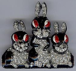 Vintage 1940s Rhinestone & Enamel Naughty Bunny Rabbits Pin Brooch