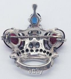Vintage 1940s TRIFARI Alfred Philippe Sterling Silver Regal Crown Figural Brooch