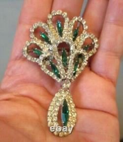 Vintage 1950 Signed HOBE Emerald Green Rhinestone Necklace Brooch Earrings Set
