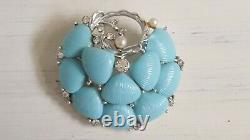 Vintage 1950s LISNER 3 pieces Parure Baby blue shell BROOCH BRACELET NECKLACE