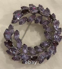 Vintage 1950s Mitchel Maer for CHRISTIAN DIOR Amethyst Purple Brooch / Pin