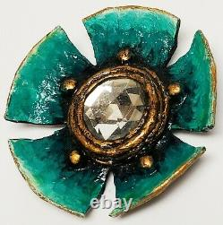 Vintage 1960's Signed EC Enid Collins Papier Paper Mache Blue Flower Pin Brooch