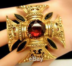 Vintage 2 Signed Florenza Goldtone Amber Black Rhinestone Maltese Cross Brooch