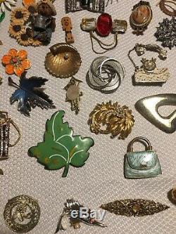 Vintage 200 Piece Brooch Pin Jewelry Lot Enamel Crystal Rhinestone Cloisonné