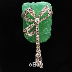 Vintage 20s Art Deco Fn Co Fishel Nessler Jade Green Glass Rhinestone Brooch Pin