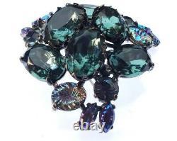 Vintage 40`s Elsa Schiaparelli Metallic AB & Glass Rhinestones Flower Brooch Pin