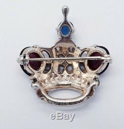 Vintage 40's TRIFARI Alfred Philippe Sterling Silver Regal Crown Figural Brooch