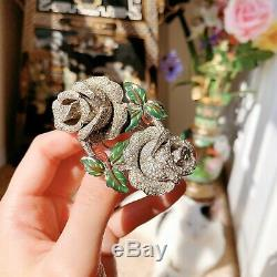 Vintage 40s Coro A. Katz Rhinestone Rose Duette Brooch Pin
