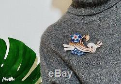 Vintage 40s Pennino Blue Rhinestone Flower Brooch Pin