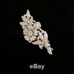 Vintage 40s Trifari Clear Rhinestone Flower Fur Clip Brooch Pin