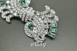 Vintage 40s green glass rhinestone Art Deco Duette dress clip Brooch