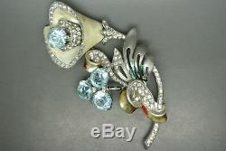 Vintage 40s unsigned Marcel Boucher blue glass rhinestone enamel lily Brooch