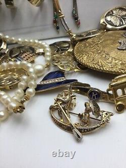 Vintage 50+ Gold Statement Jewelry Lot Necklace Bracelet Brooch Belt Huge Resell