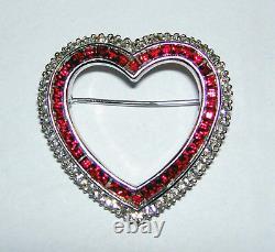 Vintage 50s CINER Rhodium Plated Red Clear Rhinestone Valentine Heart Pin Brooch