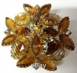 Vintage 60's Juliana AB Amber Rhinestone Maltese Cross Pin Brooch Very Nice