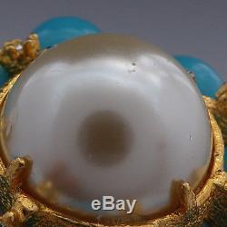 Vintage 60's Kjl Kenneth Jay Lane Pearl Turquoise Rhinestone Tiered Brooch Pin