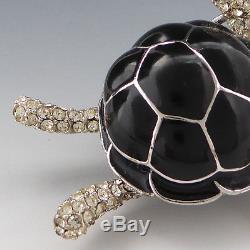 Vintage 60s Ciner Rhinestone Black Enamel Figural Turtle Hobo Pin Brooch