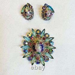 Vintage 60s D&E Juliana Statement Rhinestone Easter Egg Brooch Earrings Book Set