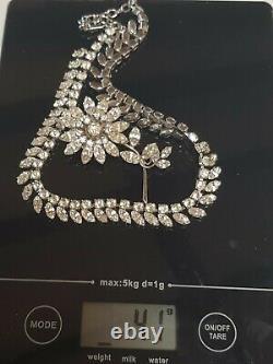 Vintage 6cm Jewel Crest Donald Simpson Rhinestone Brooch & 44cm Necklace 41grams