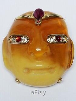 Vintage 70's KJL Pre-Columbian OLMEC Mask Pendant Brooch Faux Butterscotch Amber