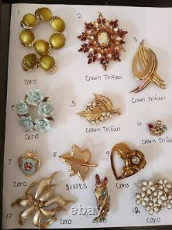 Vintage ALL Signed Brooch Jewelry LOT Trifari Coro Brooks Gold Filled Sterling