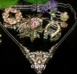 Vintage Ab Rhinestone Juliana Victorian Jewelry Lot Choker Brooch Bug Necklace