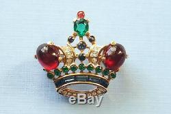 Vintage Alfred Philippe Crown Trifari Rhinestone Ruby Jelly Belly Cab Brooch