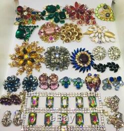 Vintage Amazing Rhinestone Jewelry Lot 22 Pc Brooch Pins Bracelet Earrings