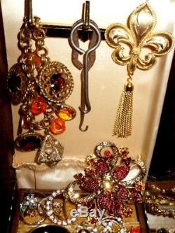 Vintage Antique Art Deco High End Jewelry Lot 10K 925 Rhinestones Rings Brooch