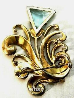 Vintage Aqua Blue Rhinestone Triangle Swirled Dimensional Flower Brooch