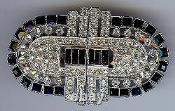 Vintage Art Deco Black & Clear Rhinestone Duette Pin Brooch