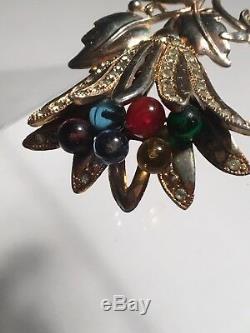 Vintage Art Deco Reja Rhinestone Pave Gripoix Glass Trembler Lily Flower Brooch