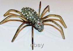 Vintage Art Nouveau Deco 55 Rhinestone Brass/Pewter Spider Brooch Red Eyes