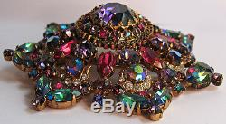 Vintage Austria Pink Blue & Purple Rhinestone Dimensional Dazzler Pin Brooch