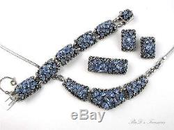 Vintage BARCLAY GRAND PARURE Blue Rhinestone Necklace Bracelet Brooch Ear SET