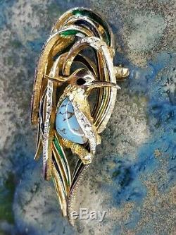 Vintage BOUCHER Bird of Paradise Brooch Pin Blue Enamel Turquoise Rhinestones