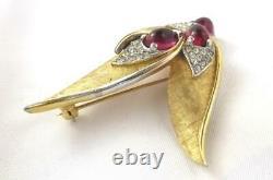 Vintage BOUCHER Freeform Abstract Bird Brooch Ruby Red Cabochons & Rhinestones