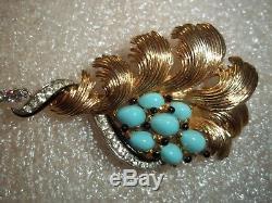 Vintage BOUCHER Gold Tone Enamel Rhinestone Cabochon with RUBY GLASS Drop Brooch