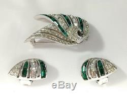 Vintage BOUCHER Silver Green Baguette Rhinestones Brooch Earrings Set Art Deco
