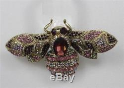 Vintage BUMBLE BEE Amethyst Jewelled AURORA Rhinestones Brooch Jewelry 4 Wide