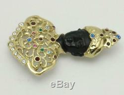 Vintage BUTLER Filigree Blackamoor Pin Brooch with Rhinestones and Turban