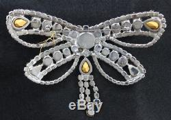 Vintage BUTLER WILSON Crystal Clear Round Pear Rhinestone BUTTERFLY Brooch