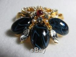 Vintage Barrera Fleur De Lis Large Brooch