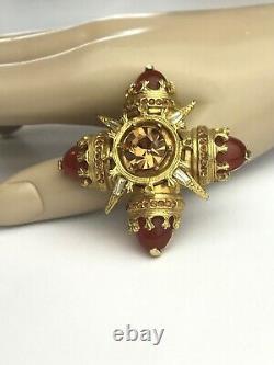 Vintage Benedikt NY Topaz Rhinestone Faux Carnelian Maltese Cross Brooch Pin