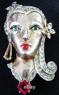 Vintage Book Cover Gorgeous Girl Lady Face Gilt Sterl Silver Figural Pin Brooch